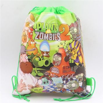 Plants vs Zombies Baby Shower Kids Favors Theme Drawstring Bags Non-Woven Fabric Backpack Birthday Party Decoration Supplies
