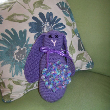 Stuffed Bunny-hand crocheted in lavender