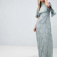 ASOS Maxi Dress with Floaty Sleeve in Soft Floral Jacquard at asos.com