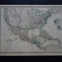 """USA antique map LARGE -  beautiful hand colored 1866 original old map of the US Mexico Caribbean - vintage poster United States - 24x32"""" big"""