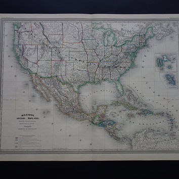 "USA antique map LARGE -  beautiful hand colored 1866 original old map of the US Mexico Caribbean - vintage poster United States - 24x32"" big"