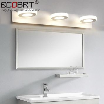 ECOBRT 9W LED Bathroom Mirror Lights 48cm Long AC220V/110V White LED Wall Sconce Lamps without Switch Round 3-lights