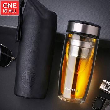 High Quality Double Wall Coffee Mug My Bottles Water Cup Tumbler Glass Cups wth Tea Filter Office Drinking Coffee Water Cups