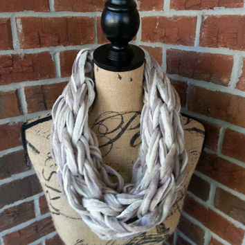Tan and Gray Arm knitted scarf, neutral scarf, knit scarf, infinity cowl, Bulky arm knit scarf multicolor infinity scarf, fashion scarf