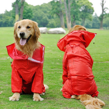6 Size for Large Dog Raincoat Clothes Waterproof Rain Jacket Jumpsuit For Big Dogs Golden Retriever Red Blue free shipping