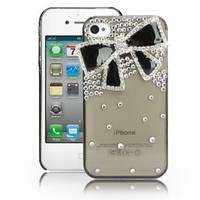 EVTECH(TM) Black Bow GEM Series Luxury Crystal Diamond Bling Design Cover Case Iphone 4 4g 4s(100% Handcrafted)