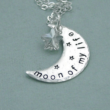 Moon of My Life  - Hand Stamped Sterling Silver Crescent Moon and Swarovkski Crystal Necklace - Game of Thrones