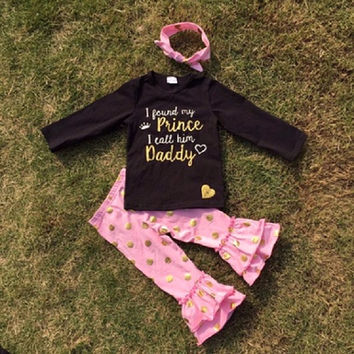 """""""I Found My Prince I Call Him Daddy"""" Gold Dot Outfit"""