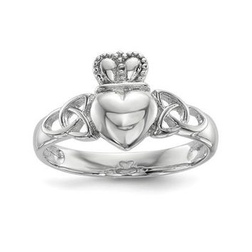Sterling Silver Celtic Knot Claddagh Ring
