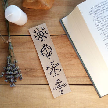 Icelandic magic rune symbols bookmark, Wiccan bookmark, Magic bookmark, Mythic bookmark, Celtic bookmark, Dream, Wish, Protection, Love