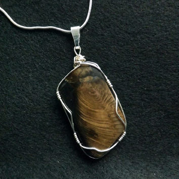 "Petrified wood,Natural stone pendant, Sterling silver wire wrapped,with a 20"" x 1 mm stamped sterling silver plated necklace 39 x 24 x 8 mm"