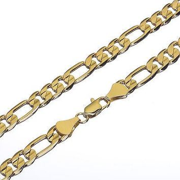 "Jewelry Kay style Solid Heavy Men's 14K Gold Plated 8 mm / 30"" Cut Figaro Link Chain Necklace"