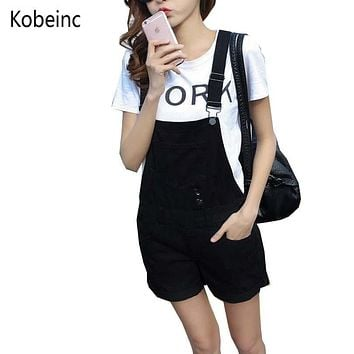 College Wind Summer Denim Bodysuit Shorts Slim Thin Straps Loose Plus Size Jumpsuit Casual Vintage White Black Pink Overalls