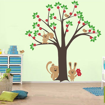 Tree with lovely squirrel and bunny with little fox and cute birds wall decal - nursery playroom
