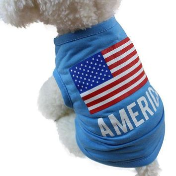 ICIKU7Q American Flag dog clothes for small dogs spring summer pet clothes summer dog clothes chihuahua roupa pet cachorro