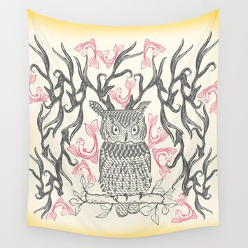 Bohemian wall tapestries, owl tapestry, hippie tapestry, owl decor, wall tapestry, wall hanging