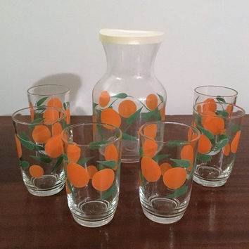 "Vintage 1970s Crown Artglass ""Orange"" Carafe / Pitcher with plastic lid and Six (6) matching Glass Tumblers / In Original Box"