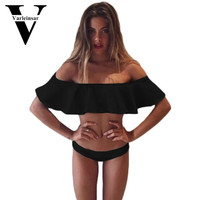 2016 new Sexy bandeau ruffled bikini women Flounce Strapless swimsuit swimwear women bathing suit biquini maillot de bain V14