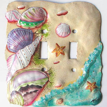 Hand painted metal light switch plate covers - Sea Shell Design Switchplate - Handcrafted in Haiti from recycled steel oil drums - S-1028-2