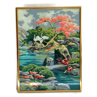 Vintage Wall Art, Paint by Numbers, Swans, Pink Coral and Aqua, Rocks and Water with Pink Tree, Framed Retro Wall Decor