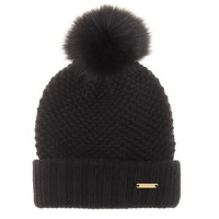 burberry brit - knit hat with fox fur bobble