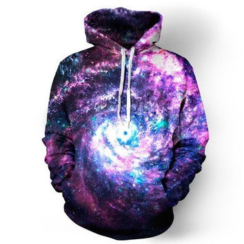 New Fashion 3D Purple Space Swirl Printed Women Men Casual Hoodies Outerwear Harajuku Galaxy Hooded Sweatshirt [8833515916]