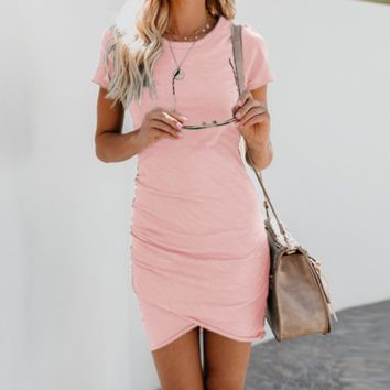 Sexy Round Neck Bag Hip Irregular Short-Sleeved Dress