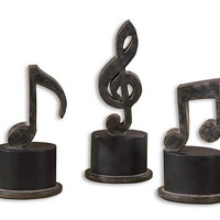 Uttermost Music Notes Metal Figurines, Set/3 - 19280