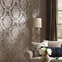 Grand Palais Wallpaper in Taupe by Ronald Redding for York Wallcoverings
