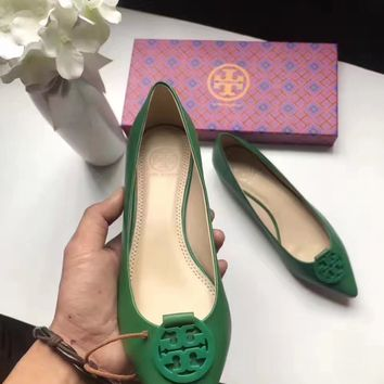TB Tory Burch Women Trending Fashion Green Casual Shoes Flat Sandal Slipper Heels