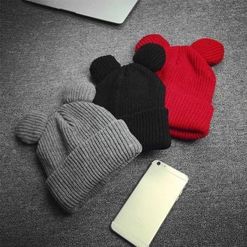 Winter Thick Knitted Wool Hat With Two Cat Ears Women's Beanie Warm Soft Cap New  Y107