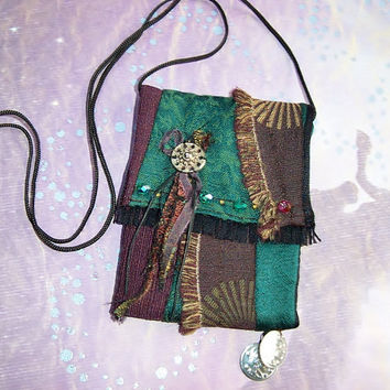 Small Hip-Bag, Purse, Wheel, Gypsy, Boho, Emerald Green, Brown