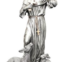 """RELIGIOUS STATUE - FIGURE, A Veronese St. Francis with Animals statue in a pewter style finish with golden highlights, 8.5"""""""