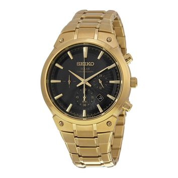 Seiko Solar Chronograph Black Dial Gold-tone Mens Watch SSC320