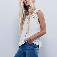 Free People Womens Cutwork Neckline Tank