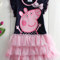 +Children Baby Girl Kids Peppa Pig Tutu Dresses Clothing skirt Cotton Clothes+