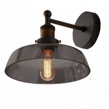 Smokey glass shade euro countryside vintage industrial edison wall lamp light wall sconce