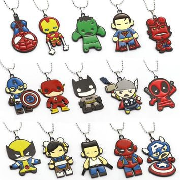 Deadpool Dead pool Taco 15 design Superheros The Avengers Necklace Superman Spiderman Batman Hellboy Pendant  Necklaces Men Women Movie Jewelry AT_70_6