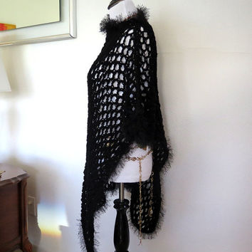 Black fishnet poncho, hand crochet asymmetric evening wrap, gift under 50