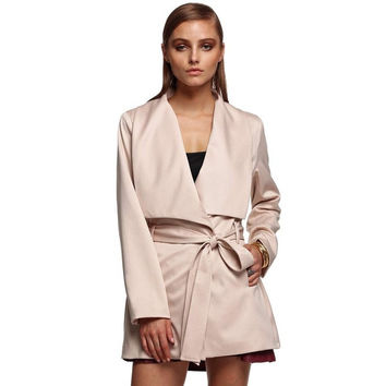Korean Style Ladies Women Career Long Sleeve Lapel With Belt Coat
