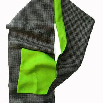 Wool & Green Silk Scarf