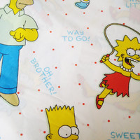 Vintage The Simpsons Flat Bed Sheet TWIN Size Boy Girl Craft Fabric Kids Bedding Used Clean Vintage Bedding Bart Cartoon Bedding
