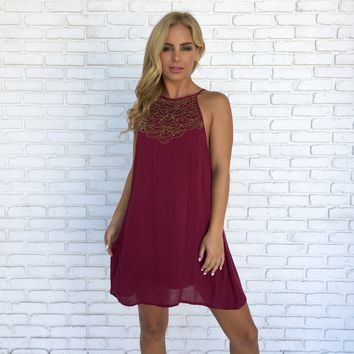 Orchestra Bead Dress In Wine