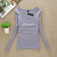 New Arrival U-neck Shirts Female's Autumn Winter Long-sleeved T-shirt Velvet Inside Women's Warm Basing Tops Free Shipping SY025