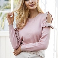 Sweater Knit Tops Winter Pullover Round-neck Strapless Ruffle Hoodies Bottoming Shirt [11942978511]