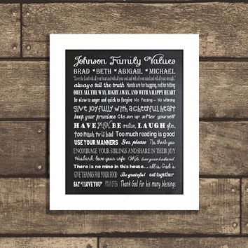 Great Christmas Holiday Gift Idea! PRINTABLE or PRINTED with Free Shipping - Personalized Family Values Poster - 8x10 - Chalkboard