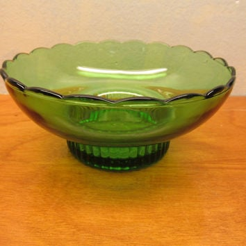VINTAGE E.O. BRODY GREEN GLASS BOWL M 222 MADE IN CLEVELAND OHIO