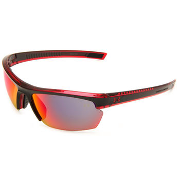 Under Armour UA Stride XL Sunglasses Black Red Frame Gray Infrared Mirror Lenses
