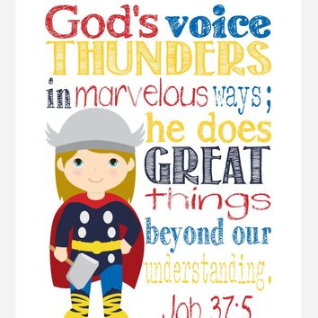 Thor Superhero Christian Nursery Decor Print, He Does Great Things Beyond Our Understanding - Job 37:5