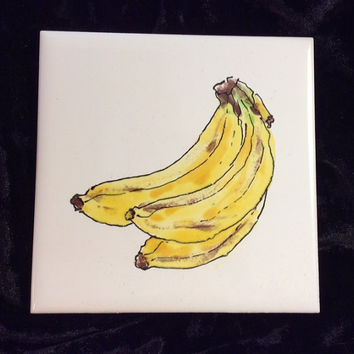 "Ceramic Tile, banana, 4""x4"", handpainted, glazed, washable, coaster, kitchen, tray, tabletop, installations"